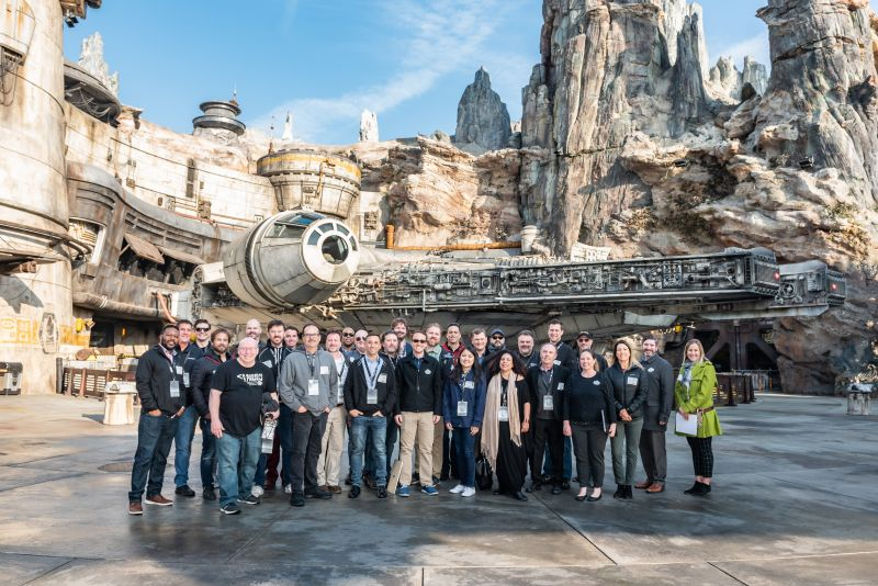 A global assembly of audio and live event experts tours Disneyland's new attraction Star Wars: Galaxy's Edge.