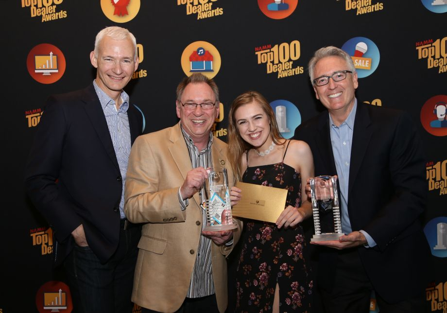 NAMM Chairman Mark Goff and NAMM President and CEO, Joe Lamond with Menzie and Summer Pittman, Contemporary Music Center, Chantilly, VA, winners of 2016 Dealer of the Year, Best Sales and Marketing Promotion and  Music Makes a Difference