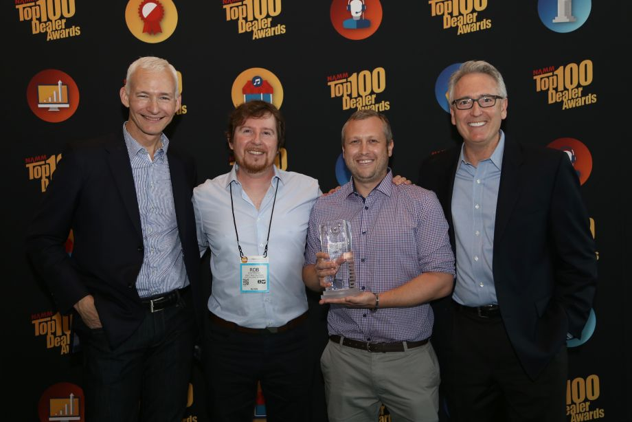 NAMM Chairman Mark Goff and NAMM President and CEO, Joe Lamond with Rob Mestric and Mark Wilson, Portmac Guitars, Macquire, Australia, Best Online Engagement