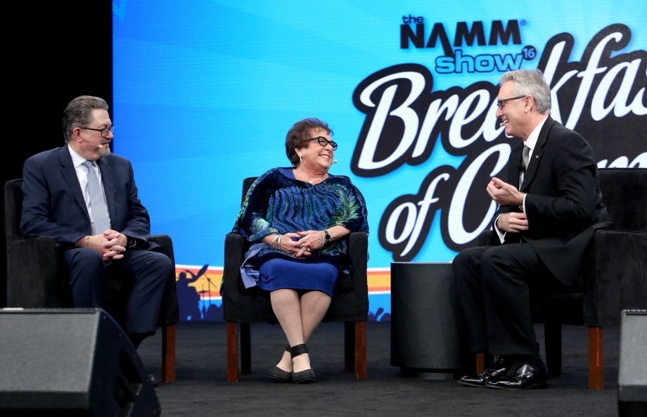 Full Compass Systems Founder and CEO Jonathan Lipp, Full Compass Systems Chairman Susan Lipp and NAMM President and CEO Joe Lamond speak on stage at the 2016 NAMM Show Opening Day at the Anaheim Convention Center on January 21, 2016 in Anaheim, California. (Photo by Jesse Grant/Getty Images for NAMM)