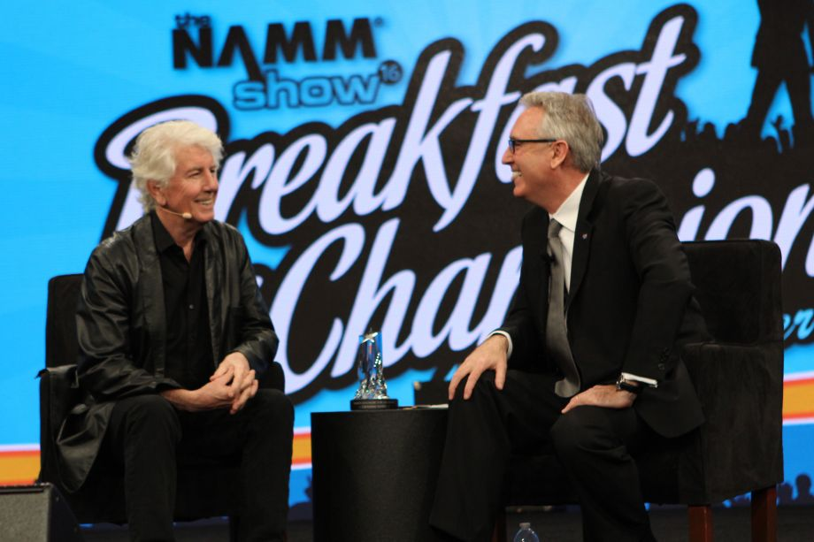 Graham Nash receives the Music for Life Award (Photo by NAMM Staff)