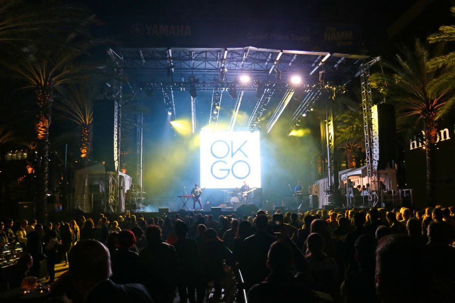OK Go rocks out on the NAMM Yamaha Grand Plaza Stage