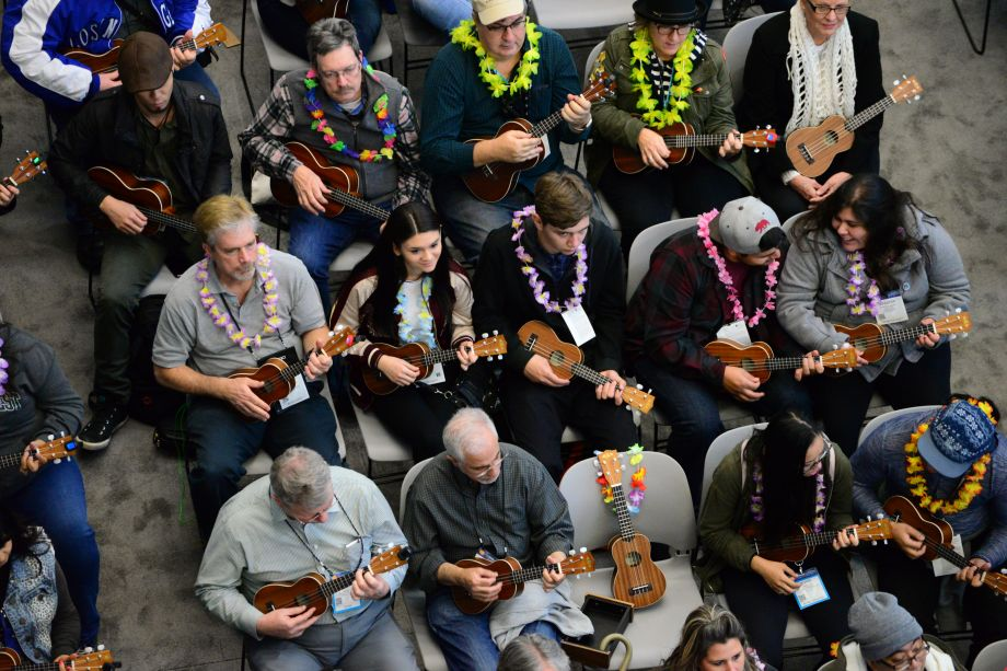 Uke circle in full swing at the NAMM Member Center