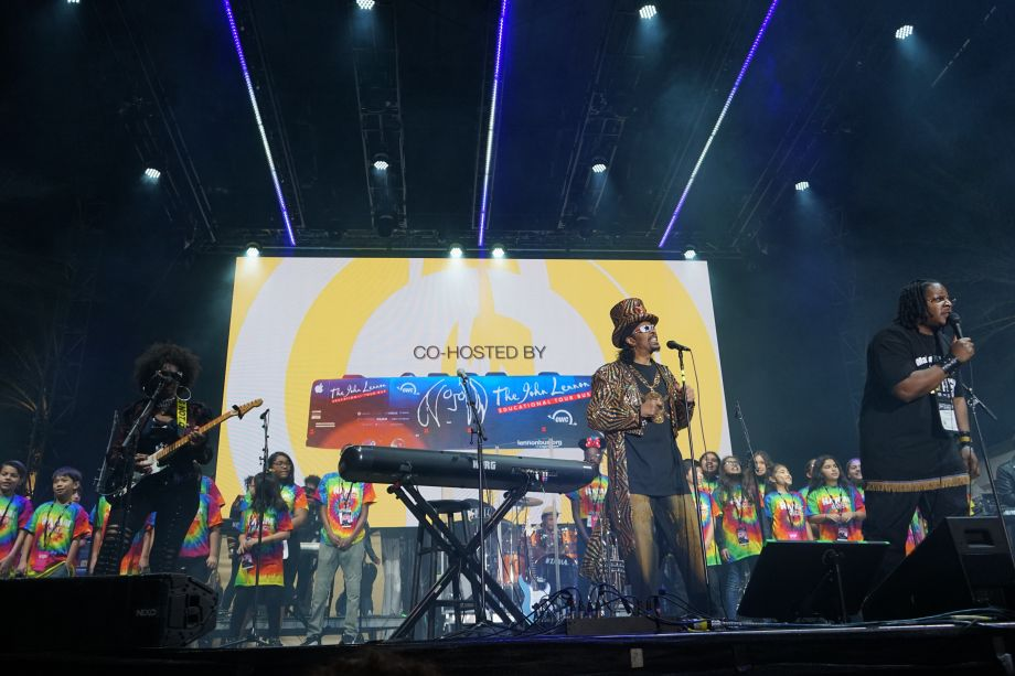 Bootsy Collins performs with students from Anaheim schools