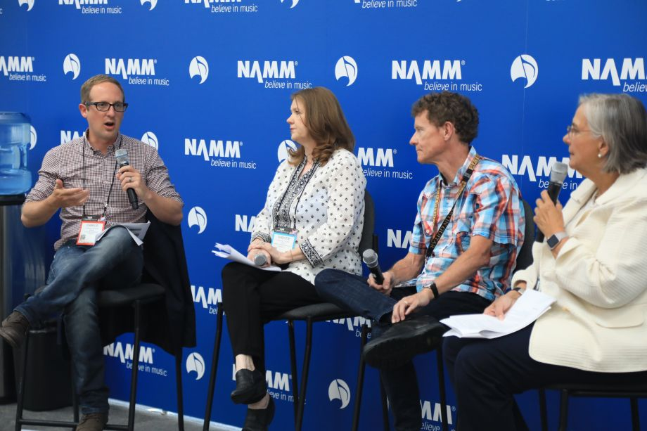 A panel speaks on CITES regulations at the NAMM Member Center on Thursday. Moderated by NAMM Director of Public Affairs and Government Relations, Mary Luehrsen.