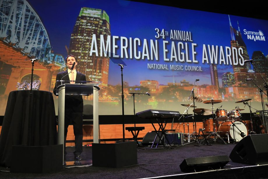 David Sanders, president of the National Music Council, greets guests at the 34th Annual American Eagle Awards.