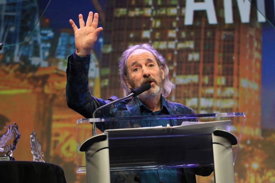 Harry Shearer accepts his American Eagle Award with a moving speech.