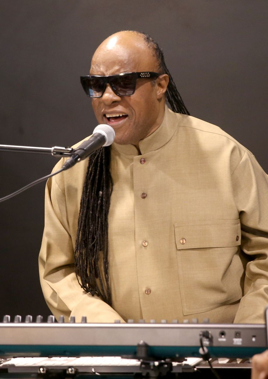Stevie Wonder performing on The NAMM Show floor. (Photo by Jesse Grant/Getty Images for NAMM)