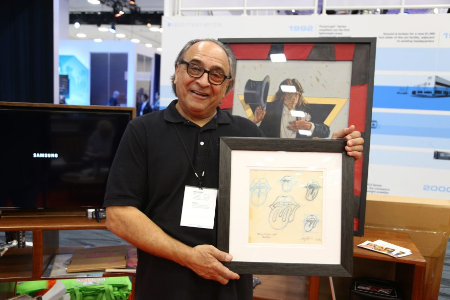 Ernie Cefalu, the creator of the Rolling Stone logo with his original sketches