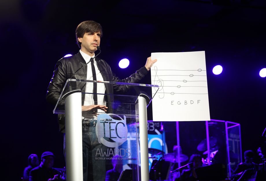 Demetri Martin entertains the audience as the host of the 33rd NAMM TEC Awards