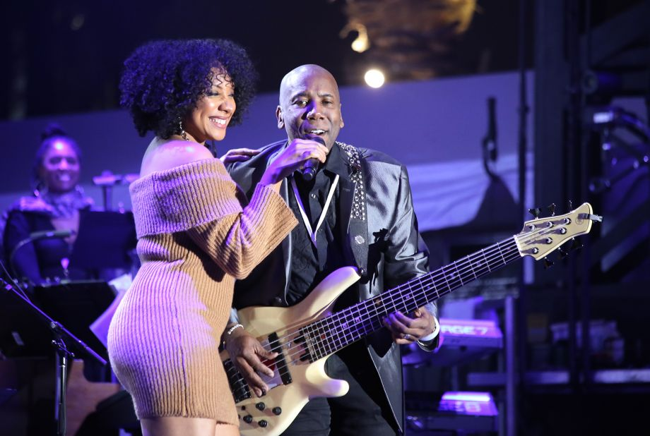Nathan East performs on the NAMM Yamaha Grand Plaza Stage