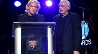 Singer-songwriter Joe Walsh and producer Bill Szymczyk speak on stage during the 31st Annual NAMM Technical Excellence & Creativity (TEC) Awards (Photo by Jesse Grant/Getty Images for NAMM)