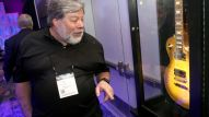 Steve Wozniak takes a look at the latest guitars showcased at The 2017 NAMM Show (Photo by Jesse Grant/Getty Images for NAMM)