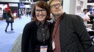 Comedians Kate Flannery and Dave Foley take a lap on the last day of the show. (Photo by Jesse Grant/Getty Images for NAMM)