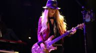 Orianthi performs for a capitvated audience on The NAMM Nissan Grand Plaza Stage