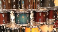 A wide variety of percussion instruments are on display on levels 1 and 2 of the Anaheim Convention Center.