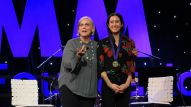 NAMM's Mary Luehrsen interviews singer/songwriter Vanessa Carlton at the Grand Rally for Music Education.
