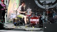 A drummer competes in the World's Fastest Drummer heats on the NAMM Reverb Stage on the Terrace on Friday