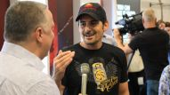 Brad Paisley promotes his signature Fender guitar at the Fender booth at Summer NAMM.
