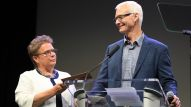 NAMM Vice Chair Robin Walenta and Chair Mark Goff present the